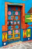 Burano multicolored door. Door of Casa deo Bepi Sua, the most multicoloured house in Burano, a community in the Venetian Lagoon Royalty Free Stock Photo