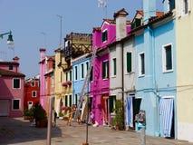 Burano nära Venedig royaltyfria foton