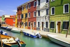 Burano by nära Venise Arkivbilder