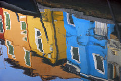 Burano reflection. Reflection of colorful houses in Burano Royalty Free Stock Photos