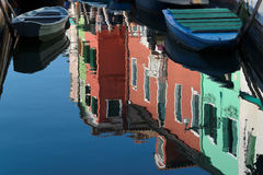 Burano reflection. Reflection of colorful houses in Burano Royalty Free Stock Image
