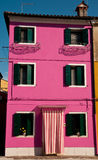 Burano's colorful house. Colorful house on a pretty island of Burano, Italy Stock Photo