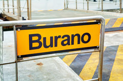 Burano sign at the vaporetto stop Royalty Free Stock Photography