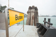 Burano signboard na waterbus przerwie Zdjęcie Stock