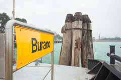 Burano signboard on waterbus stop Royalty Free Stock Photography