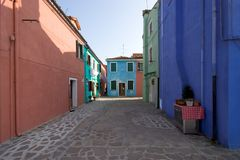 Burano Square, Venice. Typical quiet residential square in Burano, an Island in the Venetian Lagoon Stock Images