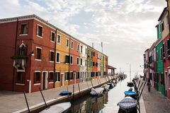 Burano street. Beautiful canal and building in Burano stock photos