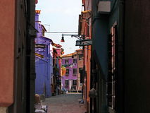 Burano Street with houses family colorful Stock Image