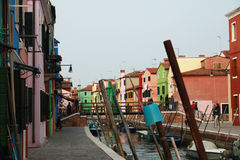 Burano streets. Colorful houses in Burano streets Royalty Free Stock Photo