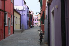 Burano. Streets, colorful houses with a bike Royalty Free Stock Images
