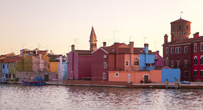 Burano at sunset Royalty Free Stock Image