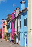 Burano, Venezia, Italy. View of the colorful houses along the canals at the Islands stock photography