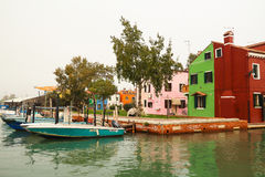 The Burano of Venice in fog. Royalty Free Stock Images
