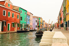 The Burano of Venice in fog. Stock Photo