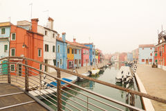 The Burano of Venice in fog. Royalty Free Stock Photos