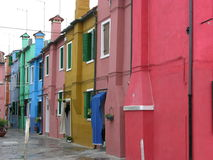 Burano Venice Italy. Coloured houses of Burano Venice Italy royalty free stock photos