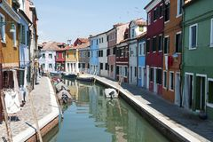 BURANO, VENICE, ITALY - APRIL 16, 2017 : View of the canal and colorful houses in a sunny day Stock Photo
