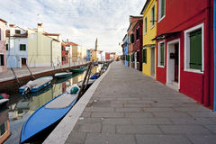 Burano Venice in Italy the building colours. Burano Venice Italy the buildings colours Royalty Free Stock Image