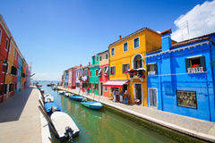 Colorful houses in Burano island near Venice, Italy Stock Images