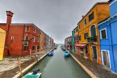 Burano - Venice, Italy. Colorful houses and canals of the island of Burano in Venice, Italy Royalty Free Stock Images