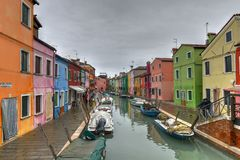 Burano - Venice, Italy. Colorful houses and canals of the island of Burano in Venice, Italy Royalty Free Stock Photography