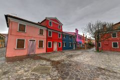 Burano - Venice, Italy. Colorful houses and canals of the island of Burano in Venice, Italy Royalty Free Stock Photo