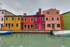 Burano - Venice, Italy. Colorful houses and canals of the island of Burano in Venice, Italy Royalty Free Stock Image