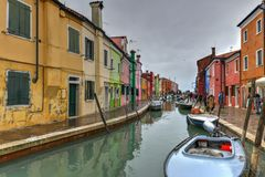 Burano - Venice, Italy. Colorful houses and canals of the island of Burano in Venice, Italy Stock Images