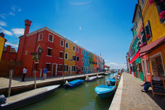 Colorful houses in Burano island near Venice, Italy stock image