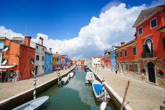 Colorful houses in Burano island near Venice, Italy stock photography