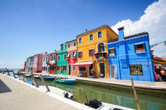 Colorful houses in Burano island near Venice, Italy Royalty Free Stock Images