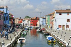 Burano, Venice, Italy : View of the canal and colorful houses typical of this island located in Venetian lagoon Stock Images