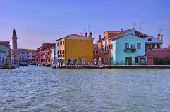 Burano view from one boat in the lagoon Royalty Free Stock Photos