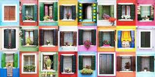 Burano windows Stock Photography