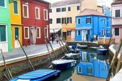 Burano, Włochy †'Grudzień 22, 2015: Sceniczna widoku Burano wyspa w Weneckiej lagunie Włochy Zdjęcia Stock