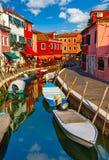 Burano wyspa w Wenecja Włochy malowniczym zmierzchu Zdjęcie Stock