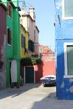 buranoen houses italy venice Royaltyfri Bild