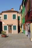 buranoen houses italy venice Arkivbild