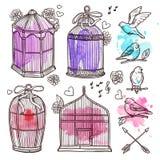 Burar och fågeluppsättning royaltyfri illustrationer