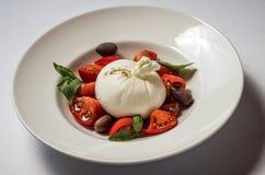 Buratta com tomates e manjericão imagem de stock