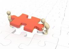 burattini 3d che installano puzzle rosso della parte Immagine Stock Libera da Diritti