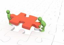 burattini 3d che installano puzzle rosso della parte Immagine Stock