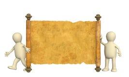 burattini 3d con il manoscritto antico Immagine Stock