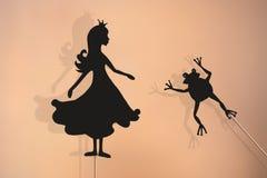 Burattini dell'ombra della rana e di principessa Fotografia Stock Libera da Diritti