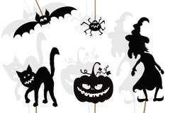 Burattini neri dell'ombra delle creature di Halloween, isolati sulla b bianca Fotografie Stock