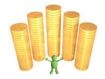burattino 3d, degno vicino alle colonne delle monete di oro Fotografia Stock