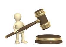 Burattino con il martelletto giudiziario Fotografie Stock Libere da Diritti