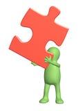 burattino 3d con il puzzle Immagini Stock Libere da Diritti