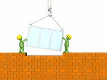 Burattino dei costruttori che costruisce la casa Fotografia Stock