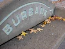 Burbank California Signage on a Bus Bench stock photo
